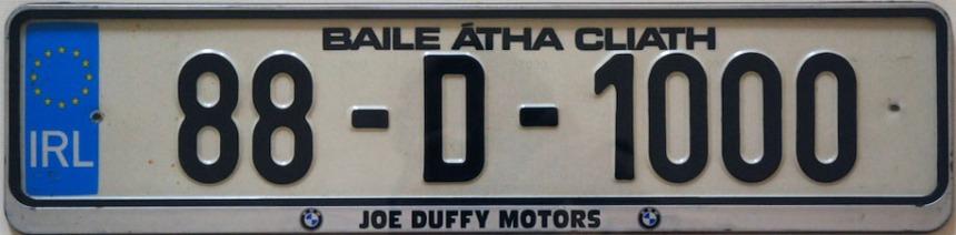 1988 numberplate