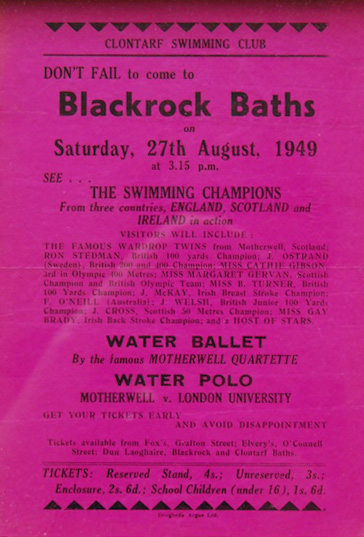 Blackrock baths flyer, 1949