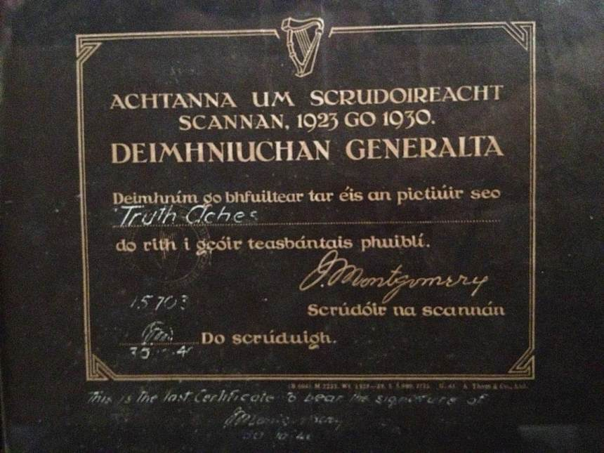 Film Censor's Certificate, 1939