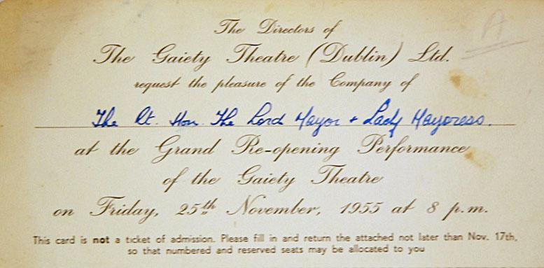 Gaiety theatre invitation