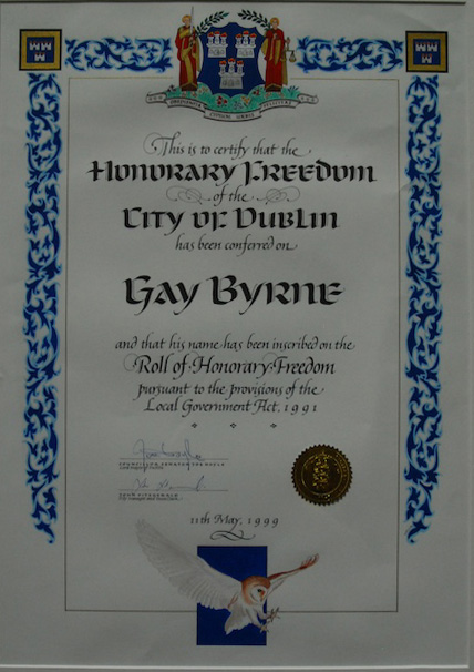 Gay Byrne Freedom of the city