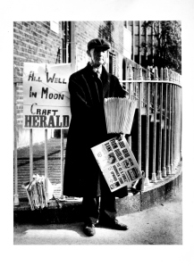 Old Man Selling Herald with sign 'All Well in Moon Craft' Large Photo.