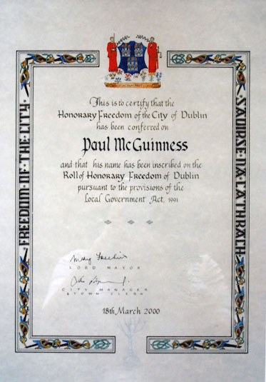 Paul McGuinness freedom of the city