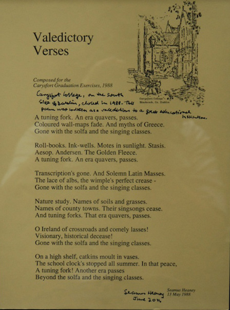 Seamus Heaney Valedictory Verses